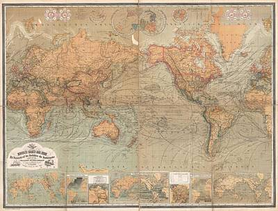 Old World Vintage Cartographic Maps Wall Art - Drawing - Antique Maps - Old Cartographic Maps - Antique German Map Of The World, 1870 by Studio Grafiikka