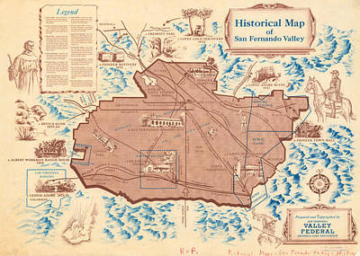Royalty-Free and Rights-Managed Images - Antique Maps - Old Cartographic maps - Antique Historical Map of San Fernando Valley by Studio Grafiikka