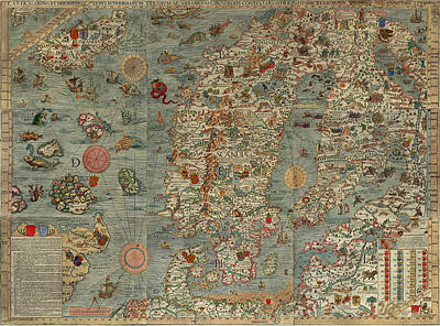 Royalty-Free and Rights-Managed Images - Antique Maps - Old Cartographic maps - Antique Map of Scandinavia in Latin, 1539 by Studio Grafiikka