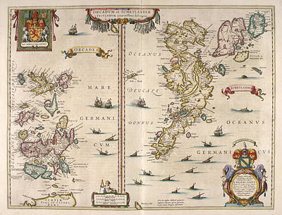 Royalty-Free and Rights-Managed Images - Antique Maps - Old Cartographic maps - Antique Map of Schetland and Orkney Islands - Scotland,1654 by Studio Grafiikka