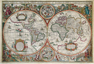 Old World Vintage Cartographic Maps Wall Art - Drawing - Antique Maps - Old Cartographic Maps - Antique Map Of The World In Latin by Studio Grafiikka