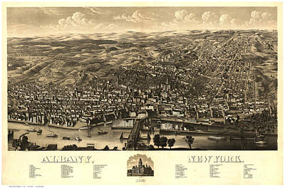 Cities Drawings - Antique Maps - Old Cartographic maps - Antique Map of Albany, New York, 1879 by Studio Grafiikka