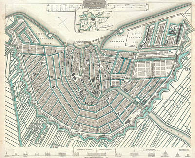 Drawing - Antique Maps - Old Cartographic Maps - Antique Map Of Amsterdam by Studio Grafiikka