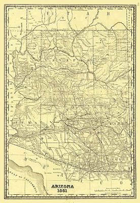 Arizona Map Drawing - Antique Maps - Old Cartographic Maps - Antique Map Of Arizona, 1881 by Studio Grafiikka