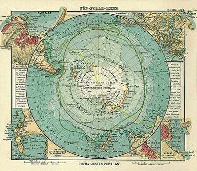 Royalty-Free and Rights-Managed Images - Antique Maps - Old Cartographic maps - Antique Map of South Pole and Antarctica in German by Studio Grafiikka
