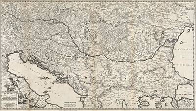 Venice Drawing - Antique Maps - Old Cartographic Maps - Antique Map Of The Balkan Peninsula, 1686 by Studio Grafiikka