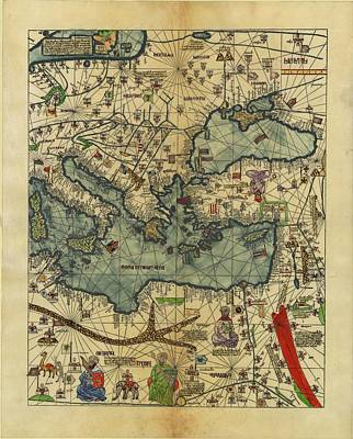 Royalty-Free and Rights-Managed Images - Antique Maps - Old Cartographic maps - Antique Map of Black Sea and Mediterranean Sea by Studio Grafiikka