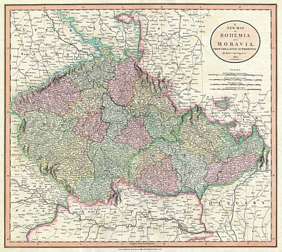 Antique Maps - Old Cartographic Maps - Antique Map Of Bohemia And Moravia, 1801 Art Print