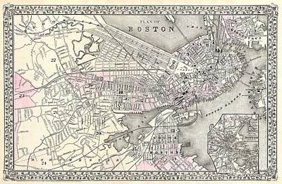 Caravaggio - Antique Maps - Old Cartographic maps - Antique Map of Boston Massachusetts, 1879 by Studio Grafiikka