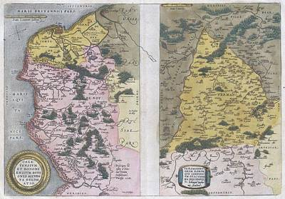 Drawing - Antique Maps - Old Cartographic Maps - Antique Map Of Calais And Vermandois, France, 1579 - Ortelius by Studio Grafiikka
