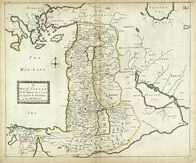 Typographic World Rights Managed Images - Antique Maps - Old Cartographic maps - Antique Map of Canaan Royalty-Free Image by Studio Grafiikka