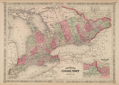 Royalty-Free and Rights-Managed Images - Antique Maps - Old Cartographic maps - Antique Map of Canada and Niagara River and Vicinity by Studio Grafiikka