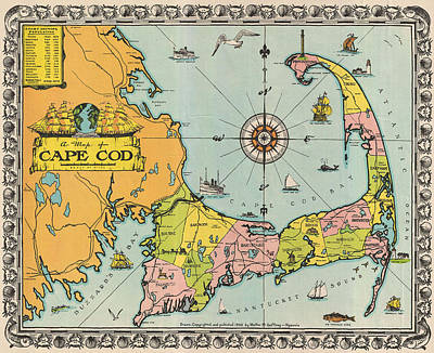 Royalty-Free and Rights-Managed Images - Antique Maps - Old Cartographic maps - Antique Map of Cape Cod, Massachusetts, 1932 by Studio Grafiikka
