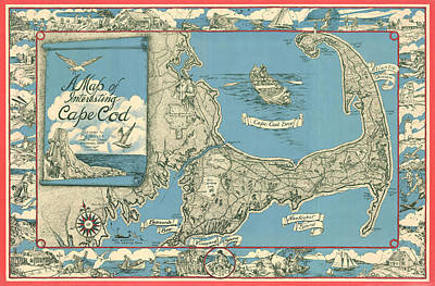 Royalty-Free and Rights-Managed Images - Antique Maps - Old Cartographic maps - Antique Map of Cape Cod, Massachusetts, 1945 by Studio Grafiikka