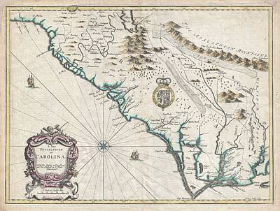 Drawing - Antique Maps - Old Cartographic Maps - Antique Map Of Carolina By John Speed, 1676 by Studio Grafiikka