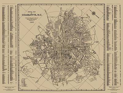 Royalty-Free and Rights-Managed Images - Antique Maps - Old Cartographic maps - Antique Map of Charlotte, North Carolina, 1935 by Studio Grafiikka