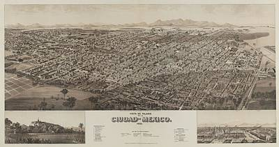 Royalty-Free and Rights-Managed Images - Antique Maps - Old Cartographic maps - Antique Map of Ciudad, Mexico, 1890 by Studio Grafiikka