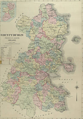 Royalty-Free and Rights-Managed Images - Antique Maps - Old Cartographic maps - Antique Map of County Dublin, Ireland by Studio Grafiikka
