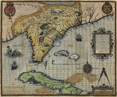 Drawing - Antique Maps - Old Cartographic Maps - Antique Map Of Florida Province by Studio Grafiikka