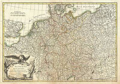 Drawing - Antique Maps - Old Cartographic Maps - Antique Map Of Germany And Poland, 1771 by Studio Grafiikka
