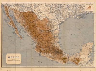 Mexico Drawing - Antique Maps - Old Cartographic Maps - Antique Map Of Mexico, 1919 by Studio Grafiikka
