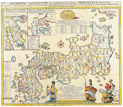 Japan Drawing - Antique Maps - Old Cartographic Maps - Antique Map Of Japan And Its Provinces by Studio Grafiikka