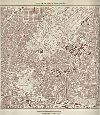 Royalty-Free and Rights-Managed Images - Antique Maps - Old Cartographic maps - Antique Map of Kensington, London by Studio Grafiikka