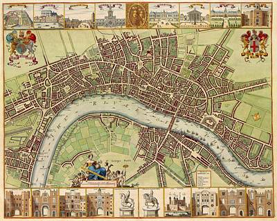 Royalty-Free and Rights-Managed Images - Antique Maps - Old Cartographic maps - Antique Map of London by Studio Grafiikka