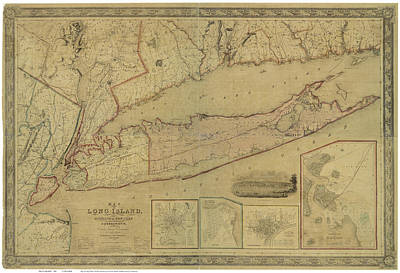 Cities Drawings - Antique Maps - Old Cartographic maps - Antique Map of Long Island, New York, Connecticut, 1844 by Studio Grafiikka