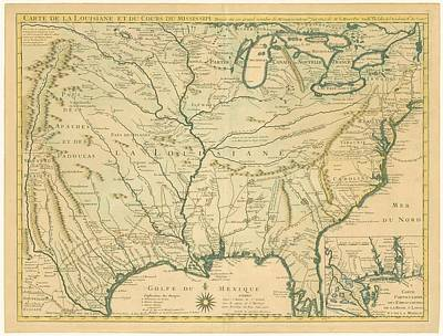 Drawing - Antique Maps - Old Cartographic Maps - Antique Map Of Louisiana - Course Of Mississippi, 1718 by Studio Grafiikka