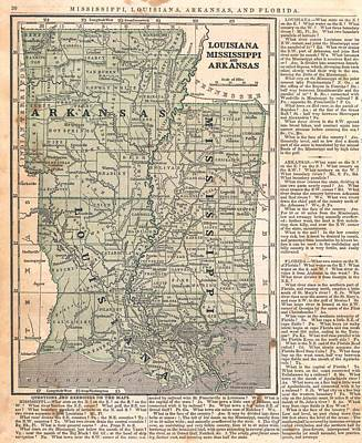Royalty-Free and Rights-Managed Images - Antique Maps - Old Cartographic maps - Antique Map of Louisiana, Mississippi and Arkansas by Studio Grafiikka