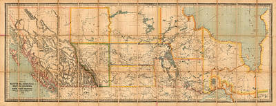 Abstract Graphics Rights Managed Images - Antique Maps - Old Cartographic maps - Antique Map of Manitoba, British Columbia, Kewaydin, 1883 Royalty-Free Image by Studio Grafiikka