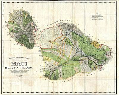 Drawings Royalty Free Images - Antique Maps - Old Cartographic maps - Antique Map of Maui, Hawaii, 1885 Royalty-Free Image by Studio Grafiikka