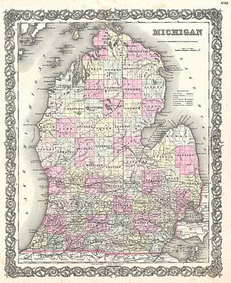 Drawings Royalty Free Images - Antique Maps - Old Cartographic maps - Antique Map of Michigan, 1855 Royalty-Free Image by Studio Grafiikka