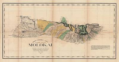 Drawing - Antique Maps - Old Cartographic Maps - Antique Map Of Molokai, Hawaiian Island, 1897 by Studio Grafiikka