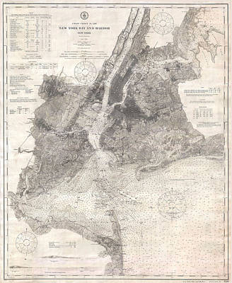 Cities Drawings - Antique Maps - Old Cartographic maps - Antique Map of New York Bay and Harbor, 1910 by Studio Grafiikka