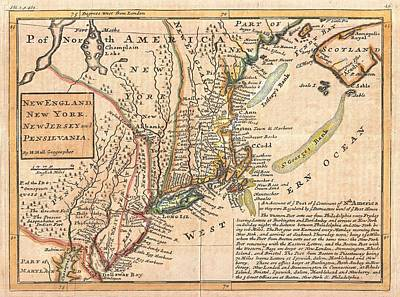 Cities Drawings - Antique Maps - Old Cartographic maps - Antique Map of New York, New England and Pennsylvania, 1729 by Studio Grafiikka