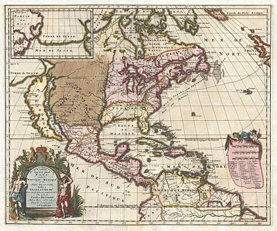 Royalty-Free and Rights-Managed Images - Antique Maps - Old Cartographic maps - Antique Map of North America by Louis Hennepin, 1698 by Studio Grafiikka