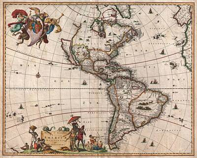 Drawing - Antique Maps - Old Cartographic Maps - Antique Map Of North And South America, 1658 by Studio Grafiikka