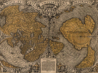 Royalty-Free and Rights-Managed Images - Antique Maps - Old Cartographic maps - Antique Map of North Pole and South Pole by Studio Grafiikka