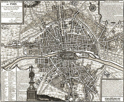 Drawing - Antique Maps - Old Cartographic Maps - Antique Map Of Paris, France, 1643 by Studio Grafiikka