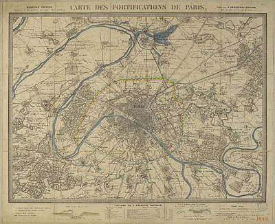 Royalty-Free and Rights-Managed Images - Antique Maps - Old Cartographic maps - Antique Map of Paris by Studio Grafiikka