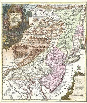 Cities Drawings - Antique Maps - Old Cartographic maps - Antique Map of Pennsylvania, New York and New Jersey, 1756 by Studio Grafiikka