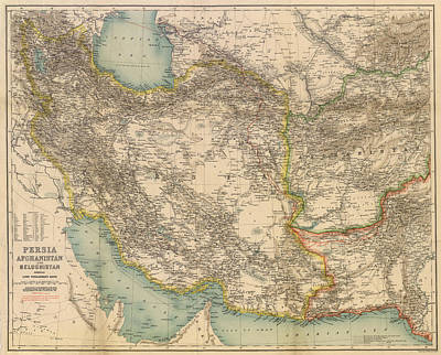 Royalty-Free and Rights-Managed Images - Antique Maps - Old Cartographic maps - Antique Map of Persia, Afghanistan and Beluchistan by Studio Grafiikka