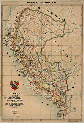 Royalty-Free and Rights-Managed Images - Antique Maps - Old Cartographic maps - Antique Map of Peru, South America, 1913 by Studio Grafiikka