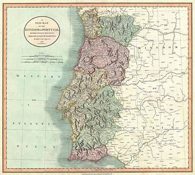 Drawing - Antique Maps - Old Cartographic Maps - Antique Map Of Portugal By John Cary, 1801 by Studio Grafiikka