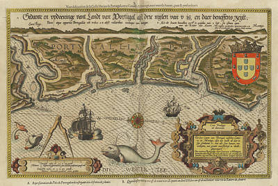 Drawing - Antique Maps - Old Cartographic Maps - Antique Map Of Portugal -  Portuguese Coast by Studio Grafiikka