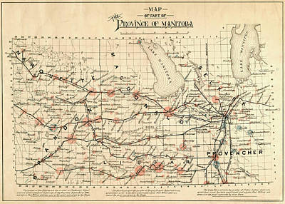 Drawing - Antique Maps - Old Cartographic Maps - Antique Map Of Province Of Manitoba, 1880 by Studio Grafiikka