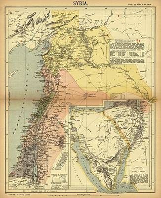 Syria Drawing - Antique Maps - Old Cartographic Maps - Antique Map Of Syria, 1884 by Studio Grafiikka