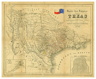 Royalty-Free and Rights-Managed Images - Antique Maps - Old Cartographic maps - Antique Map of Texas, 1849 by Studio Grafiikka